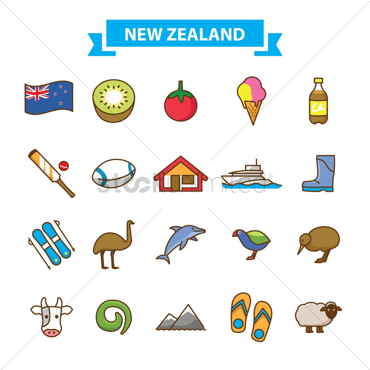 Set Of New Zealand Icons Vector Image 2016846 Stockunlimited