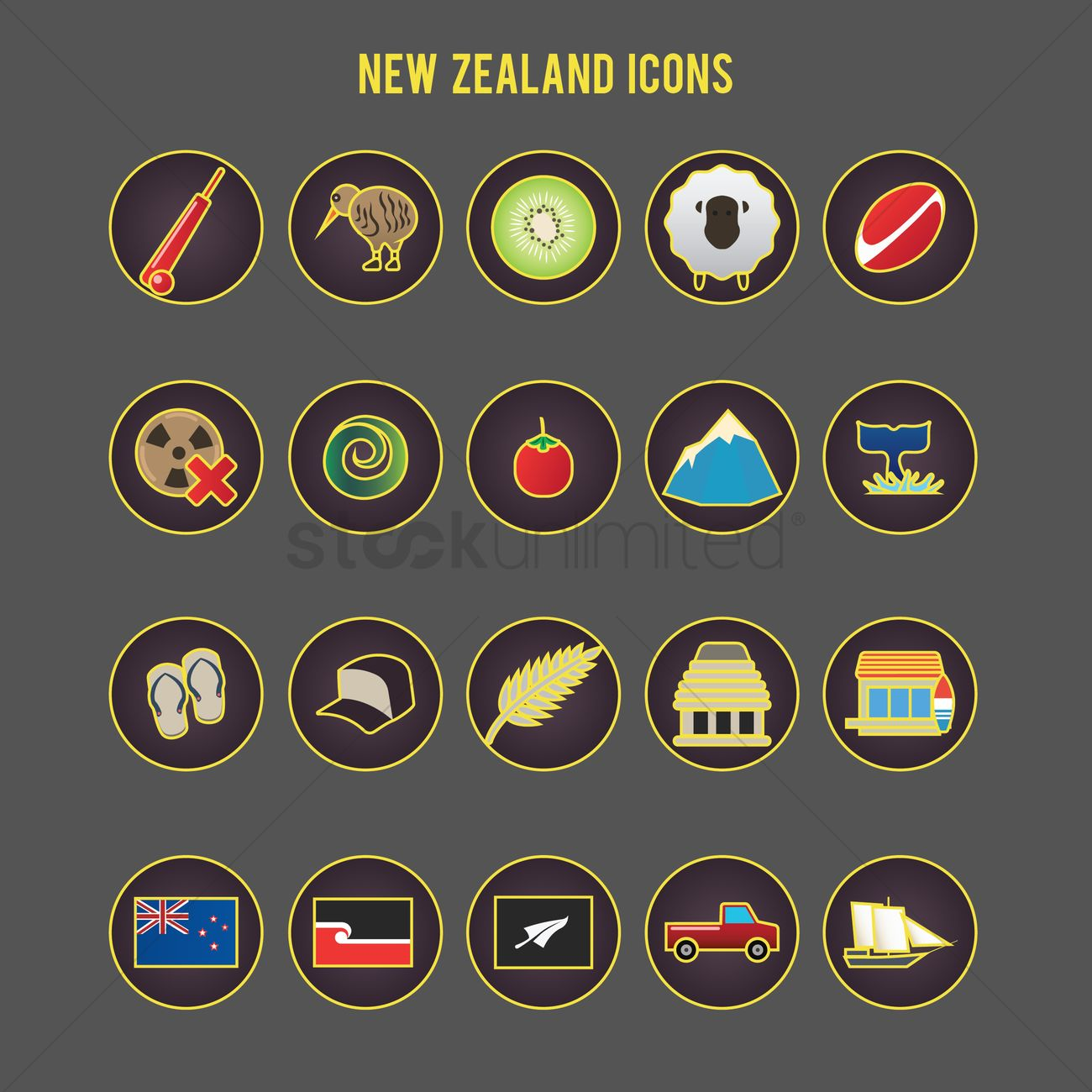Set Of New Zealand Icons Vector Image 2017326 Stockunlimited