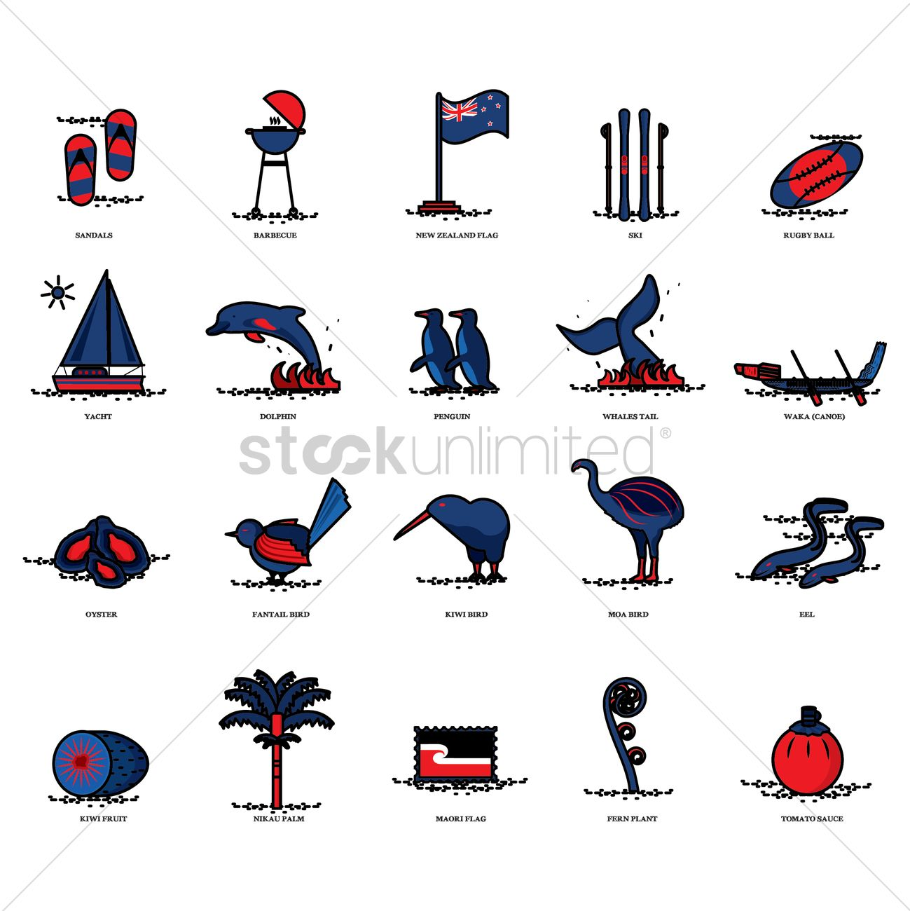 set of new zealand icons vector image 2017350 ski clip art images sky clip art images