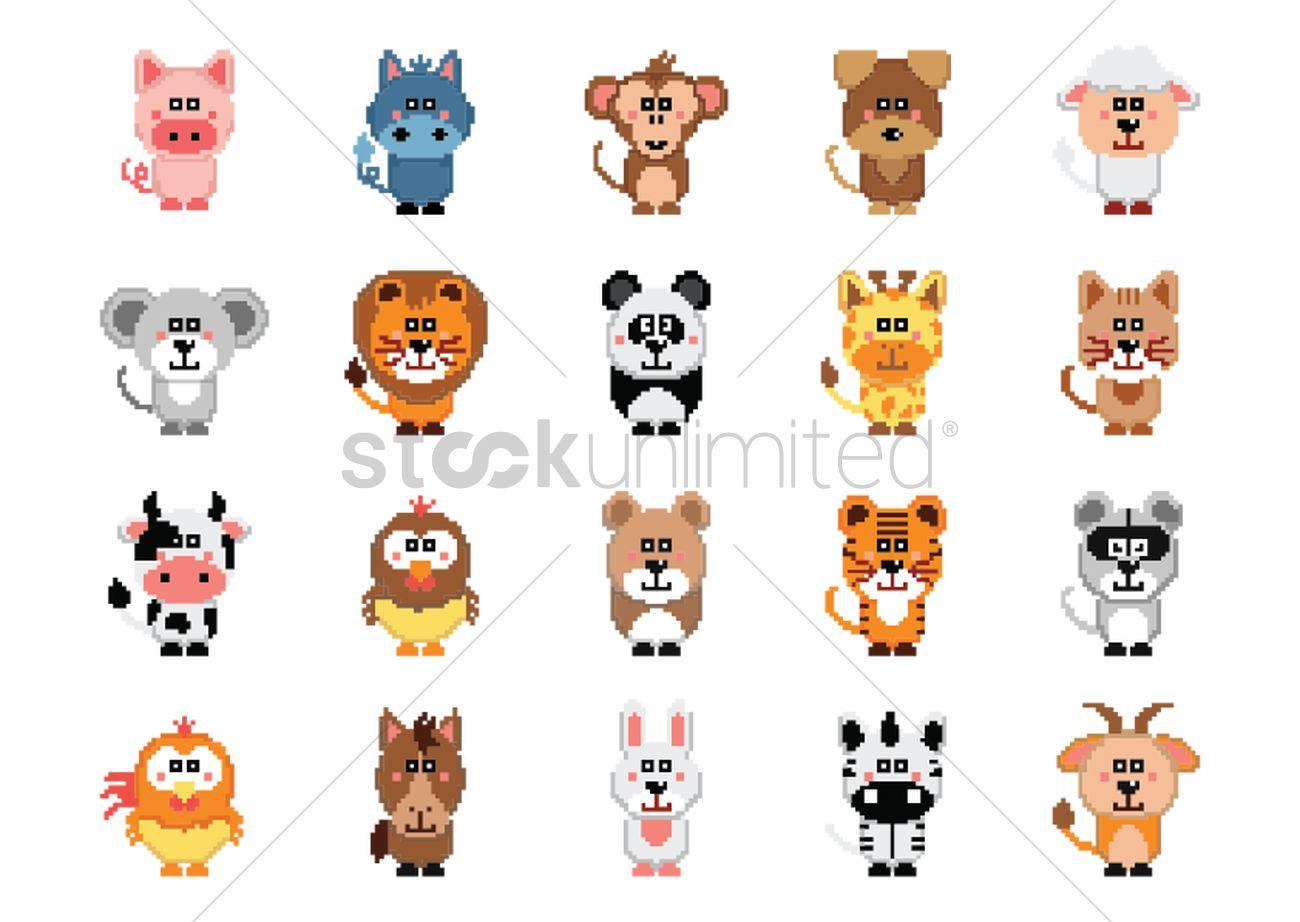 Turbo Set of pixel art animal icons Vector Image - 1959710 | StockUnlimited EI57