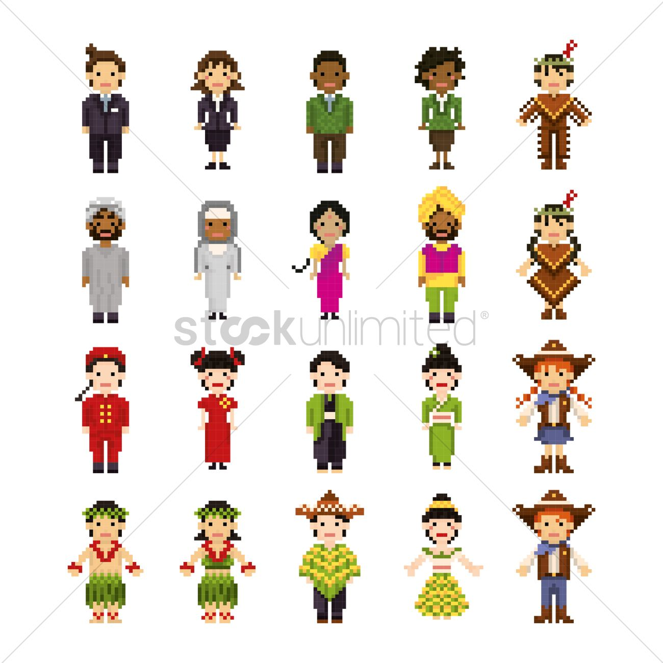 Set Of Pixel Art People Icons Vector Image 2009618 Stockunlimited