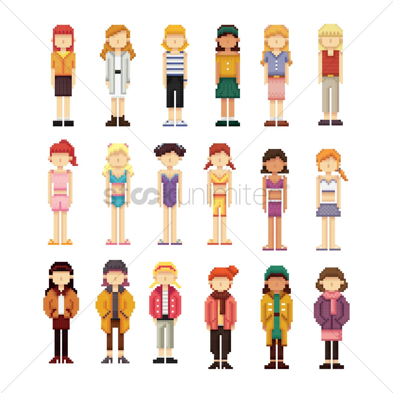 Set of pixel art women fashion icons Vector Image ...