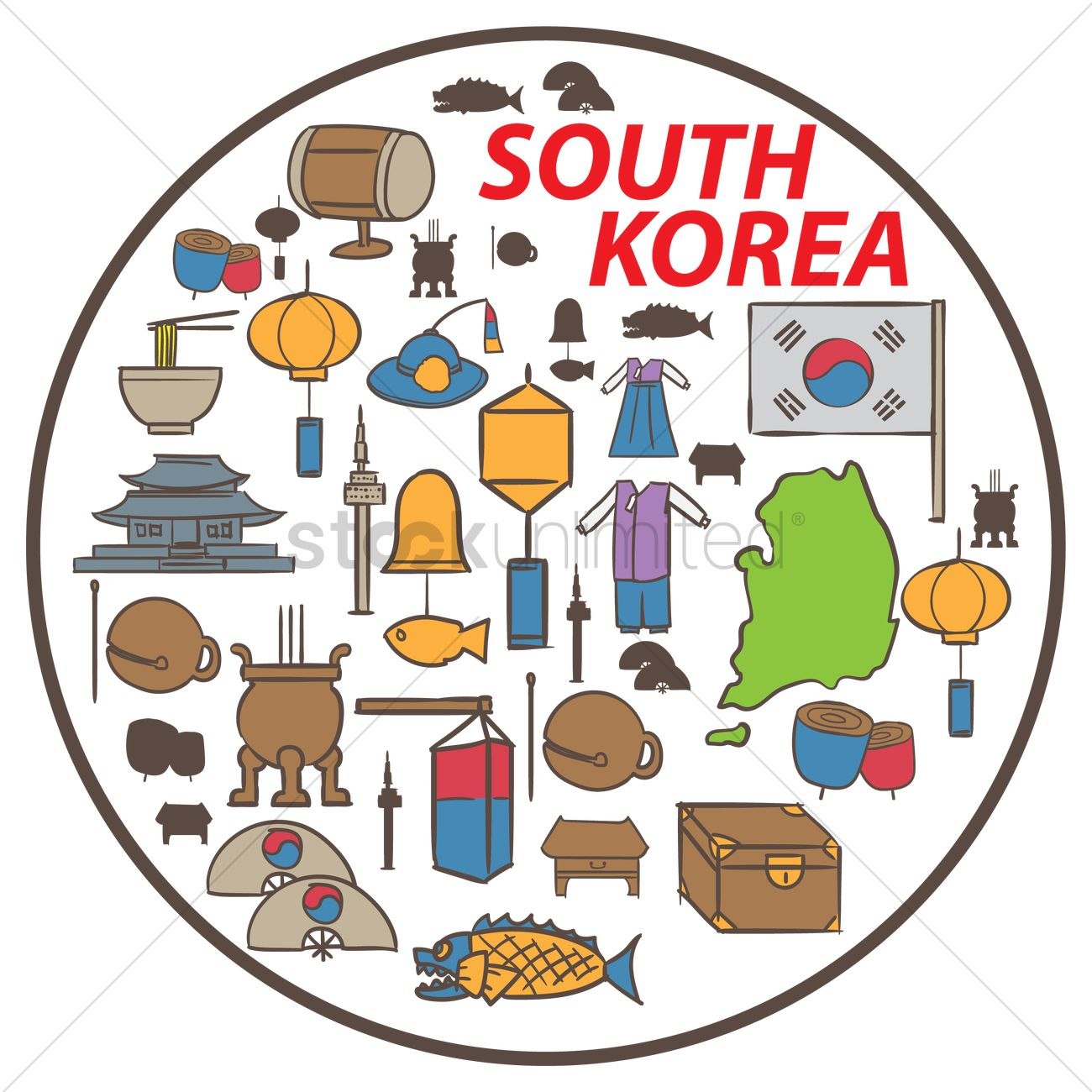 Set Of South Korea Icons Vector Image 2013510 Stockunlimited