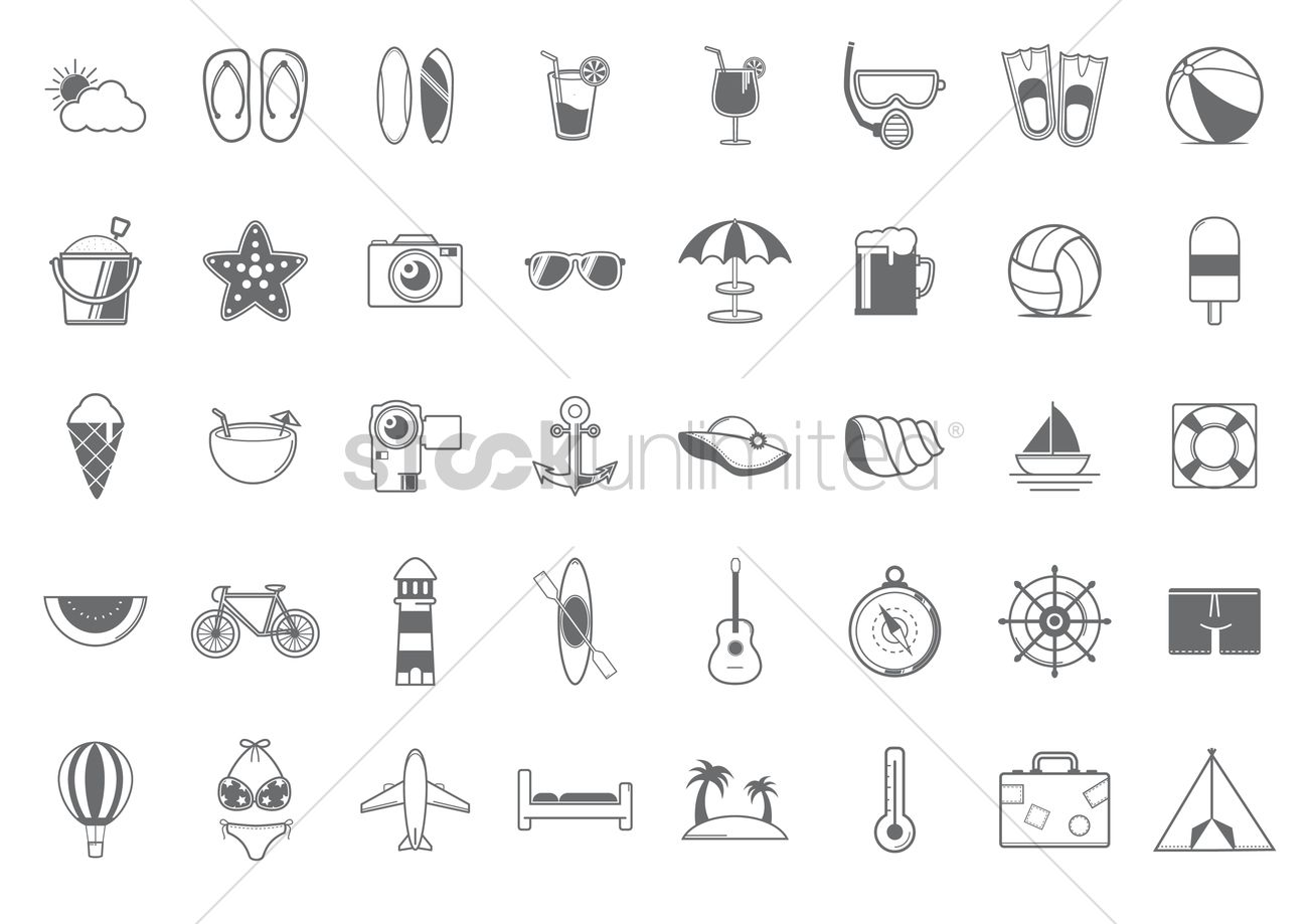 Set of summer icons Vector Image - 1353582 | StockUnlimited