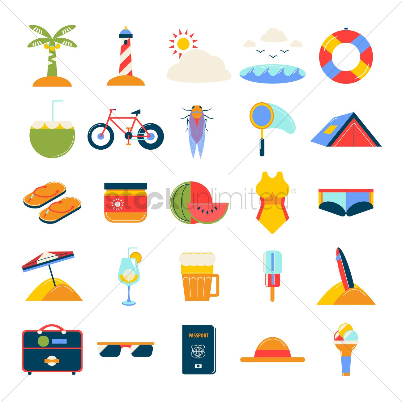 6682a33a5f54 Set of summer icons Vector Image - 1543858