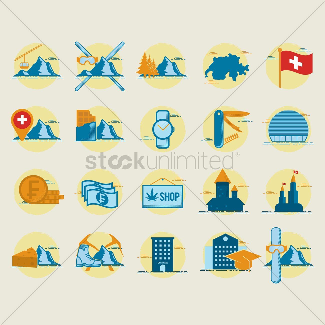 Set of switzerland icons Vector Image - 2033894 | StockUnlimited