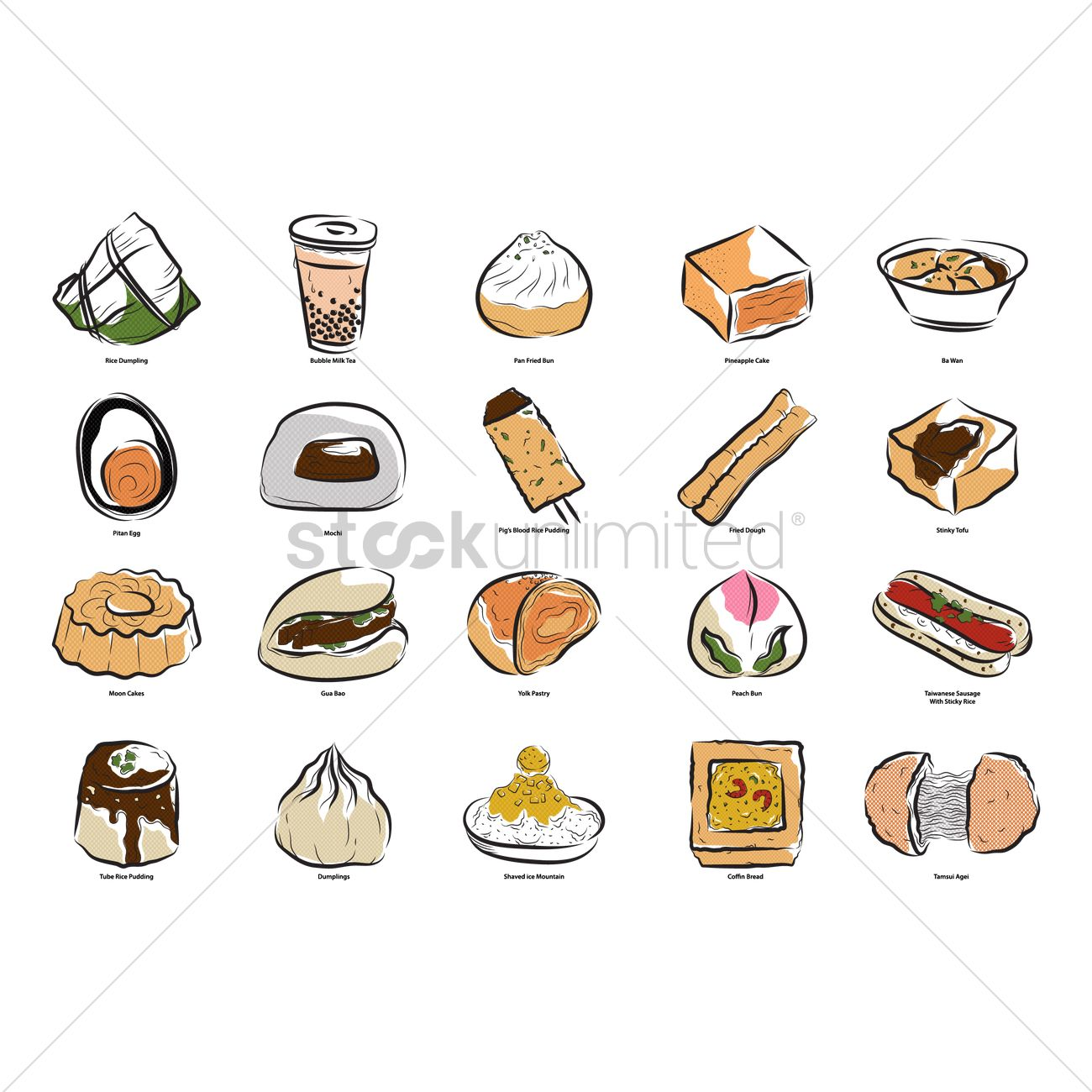 Set of taiwanese food icons Vector Image - 2035634 | StockUnlimited