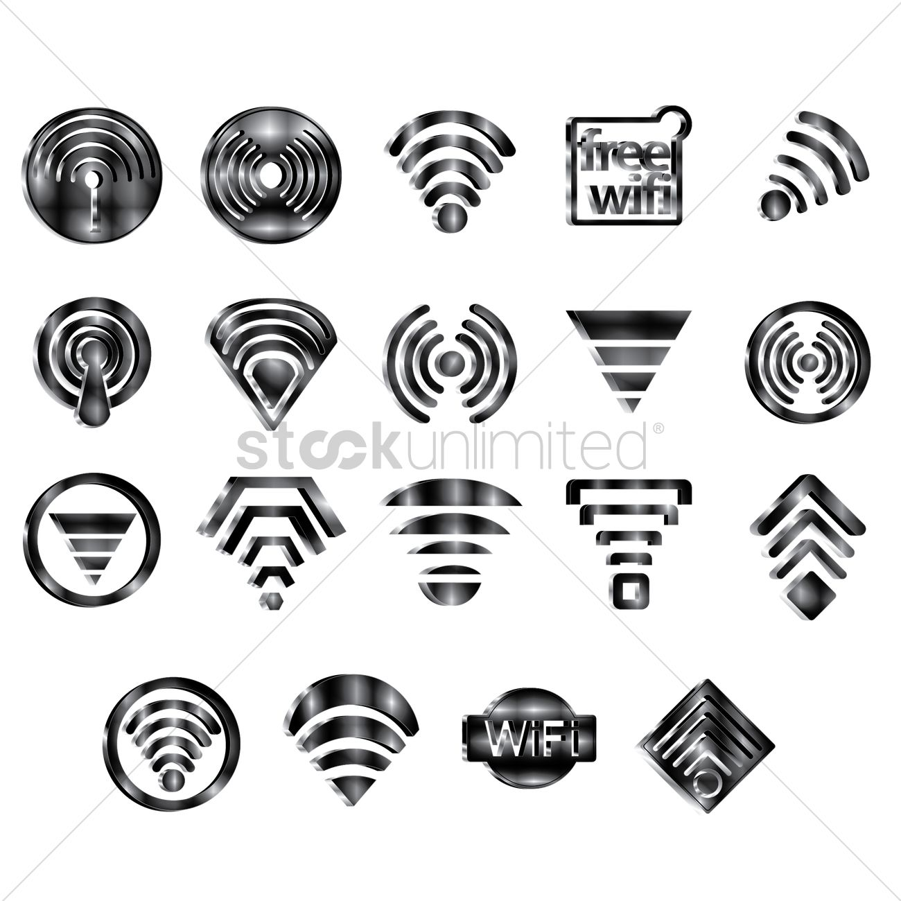 Set Of Wifi Icons Vector Image 1487214 Stockunlimited