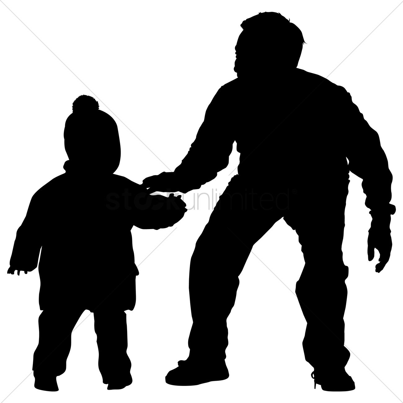 silhouette of a father and son vector graphic