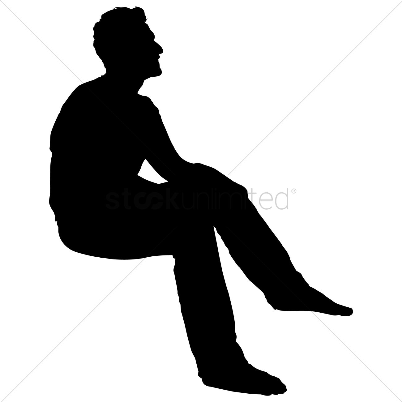 Silhouette Of A Man Sitting Vector Image - 1455958 ...