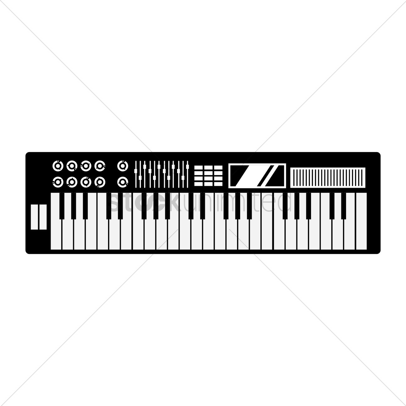 Free Silhouette Of Electronic Piano Vector Graphic