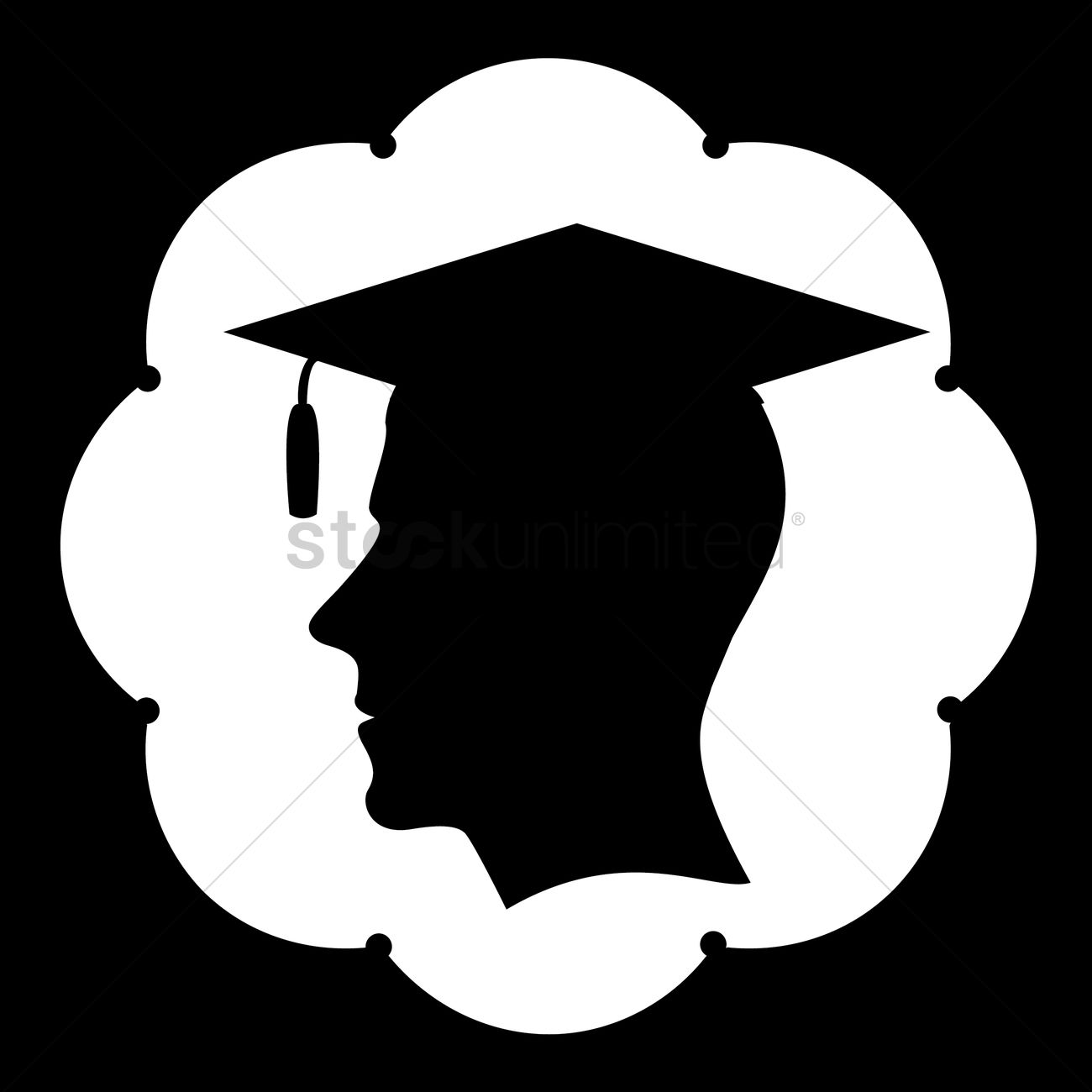 silhouette of man with graduation hat vector image 1438542