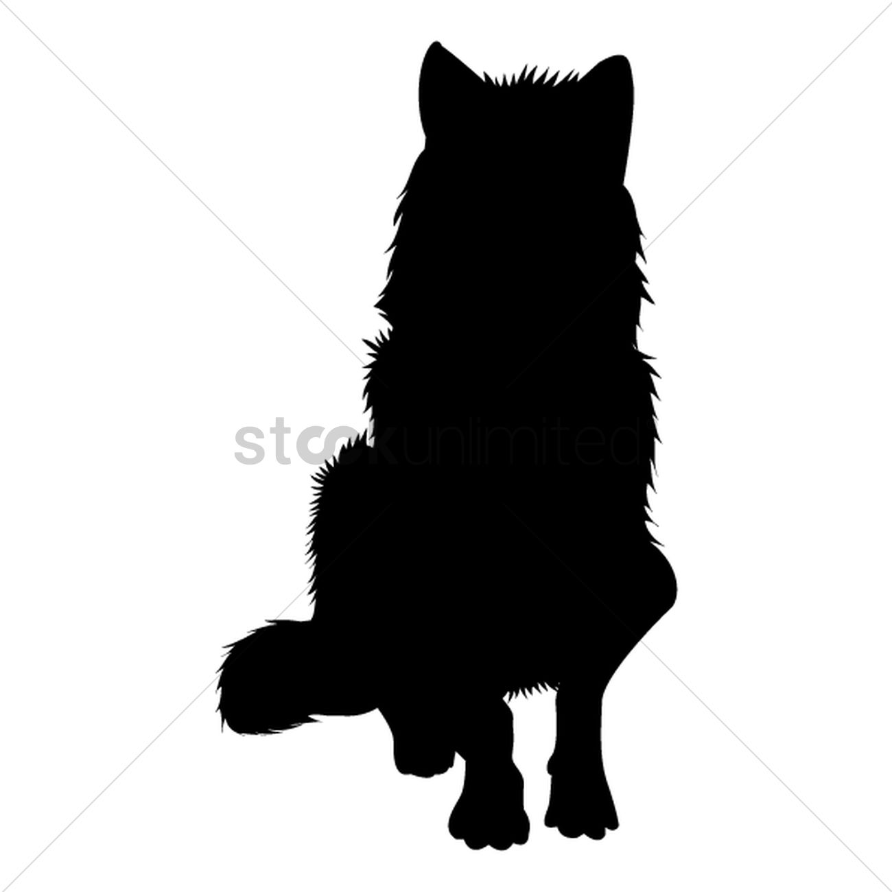 silhouette of sitting wolf vector graphic