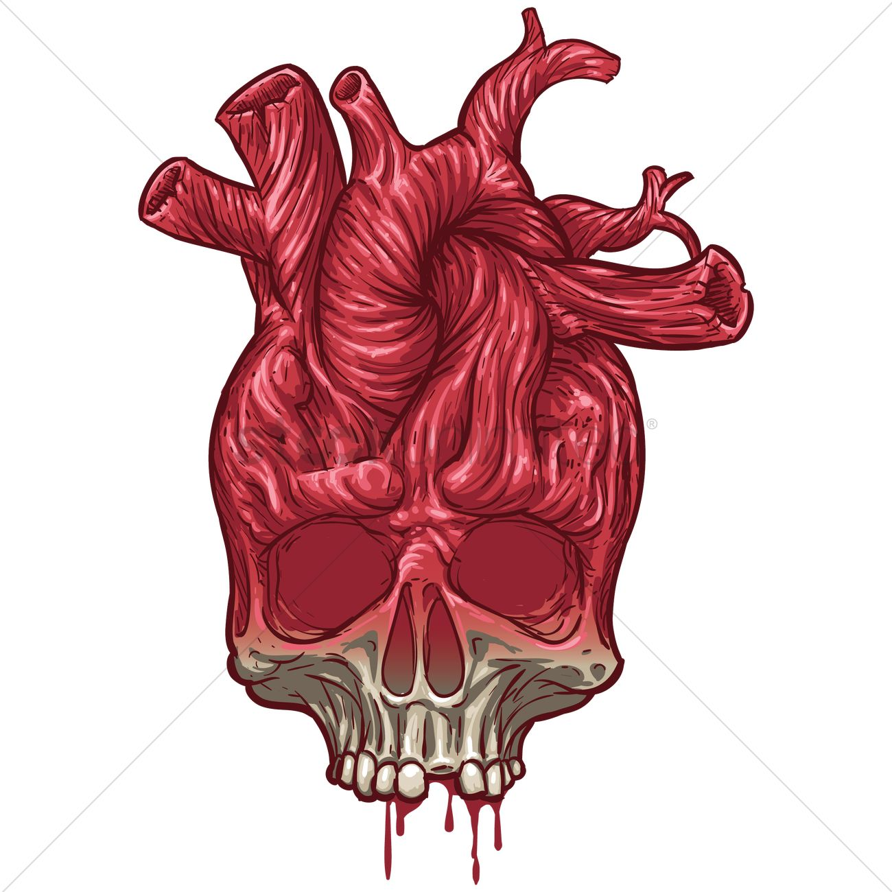 Skull Heart Vector Graphic