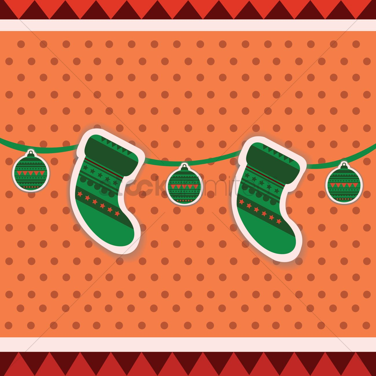 free stockings and decoration balls vector image 1282250
