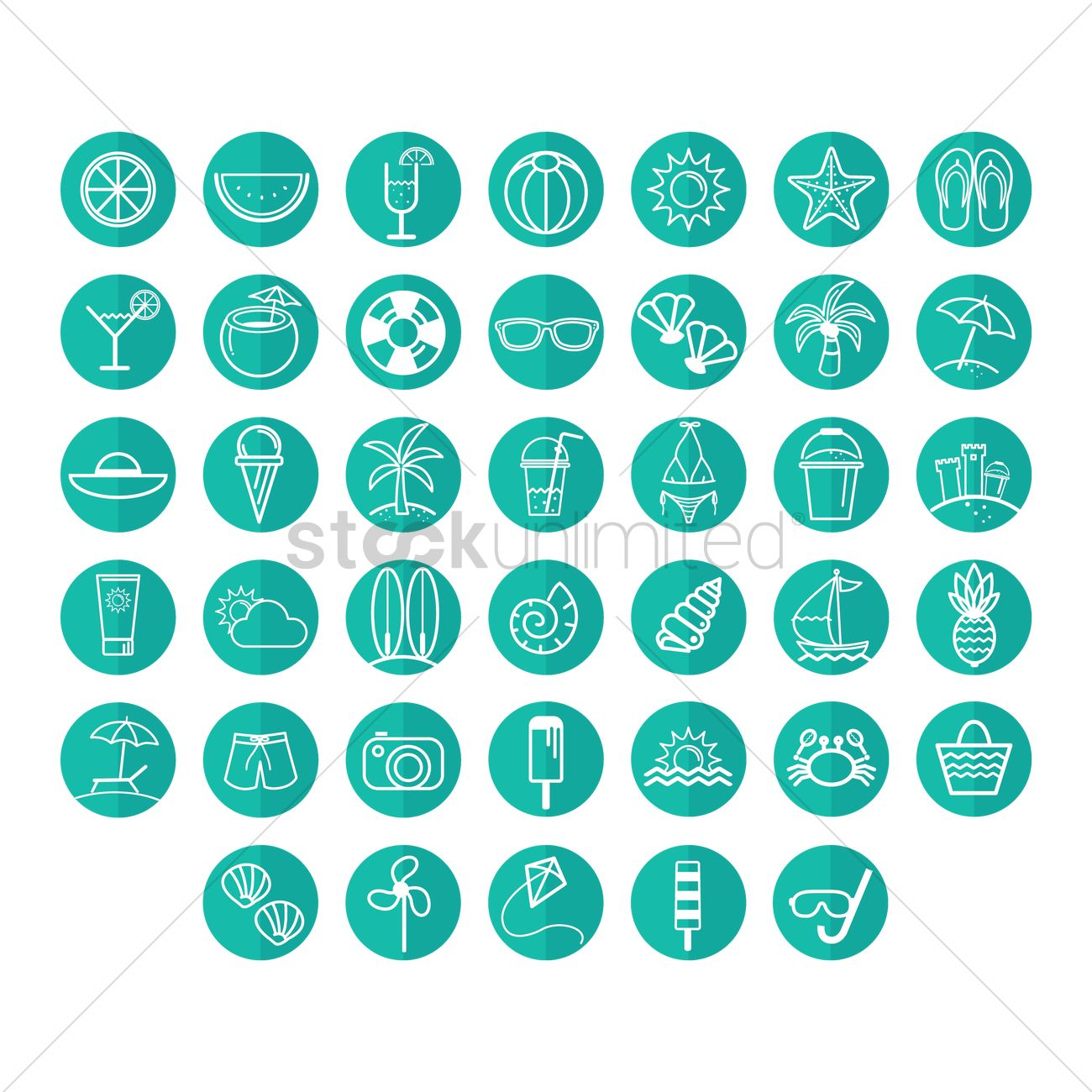 e908e1515734 Summer vacation icons Vector Image - 1376750