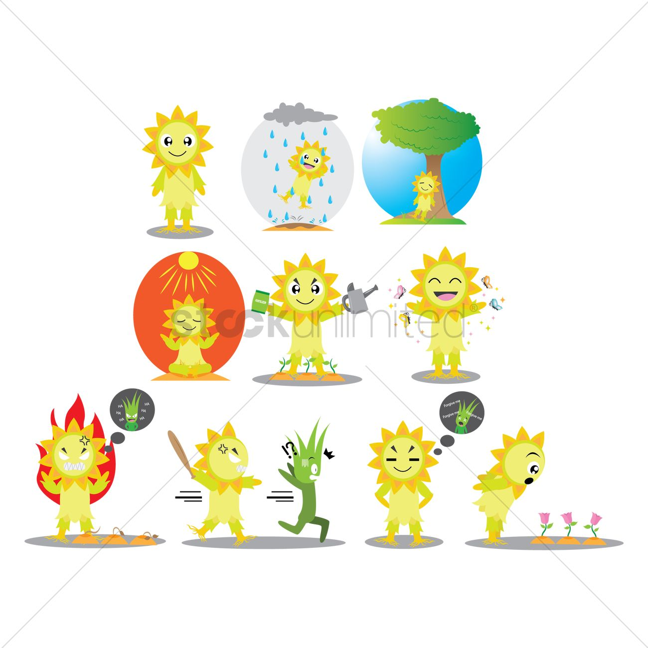 Sunflower Character With Different Actions Vector Image 1428742