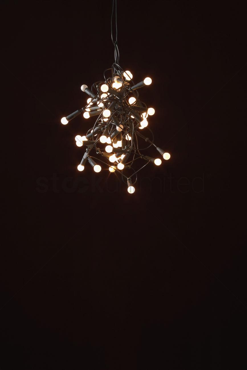 Tangled Lights On Black Background Stock Photo 1888350 Stockunlimited