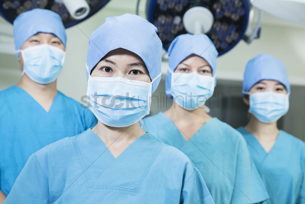Masks Wearing Room Operating The Surgeons Of Team Surgical In