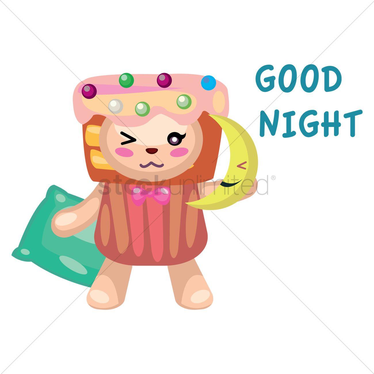 teddy bear in cupcake costume greeting good night vector image