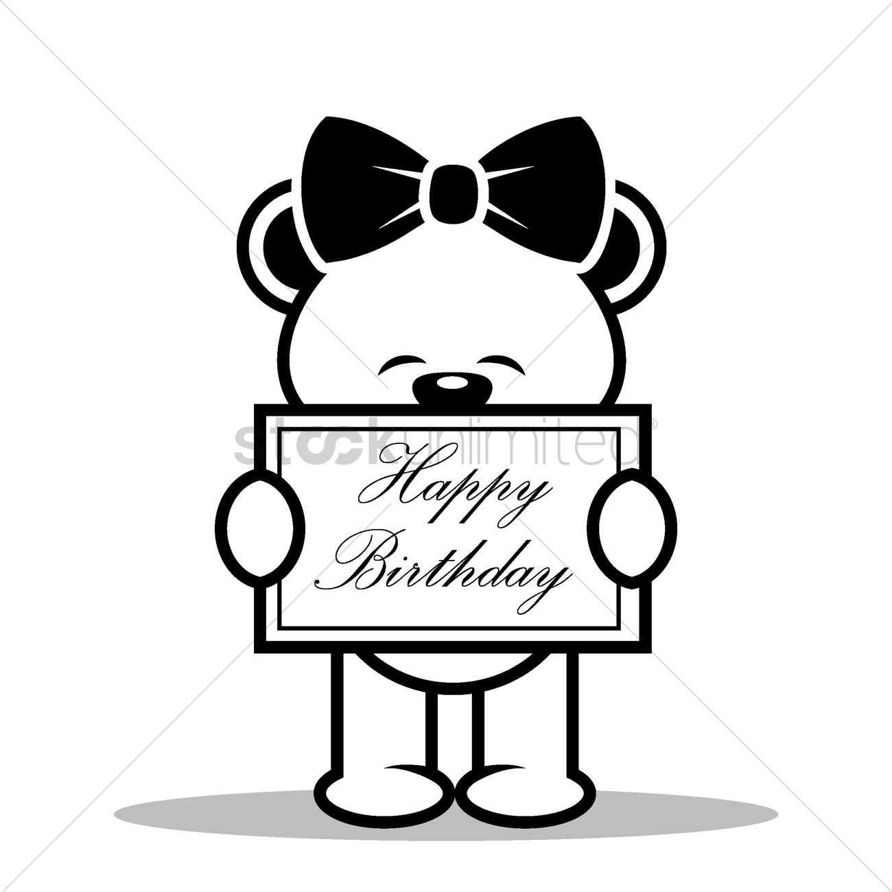 teddy bear with happy birthday board vector image 1504350