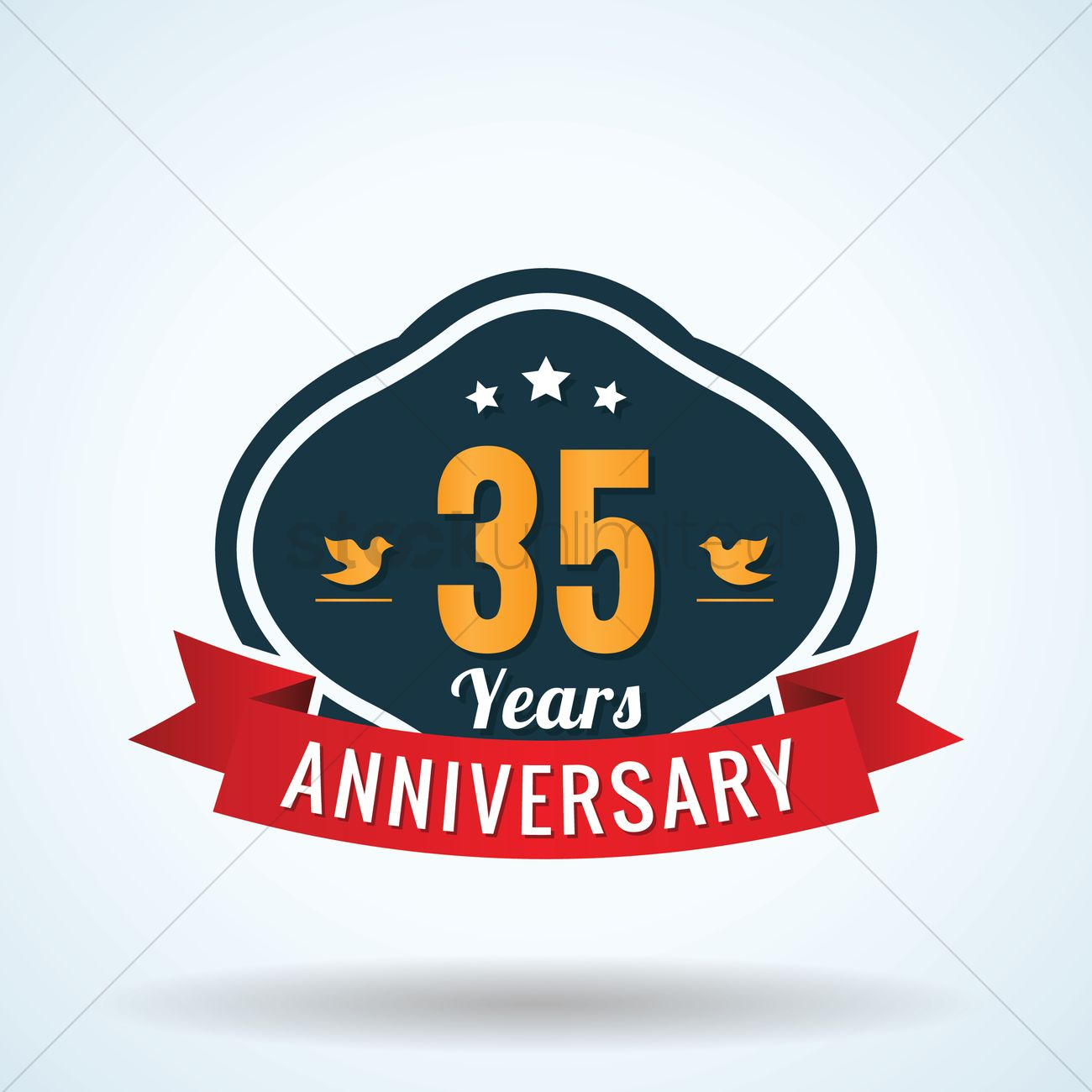 Thirty Five Years Anniversary Label Vector Image 1825362