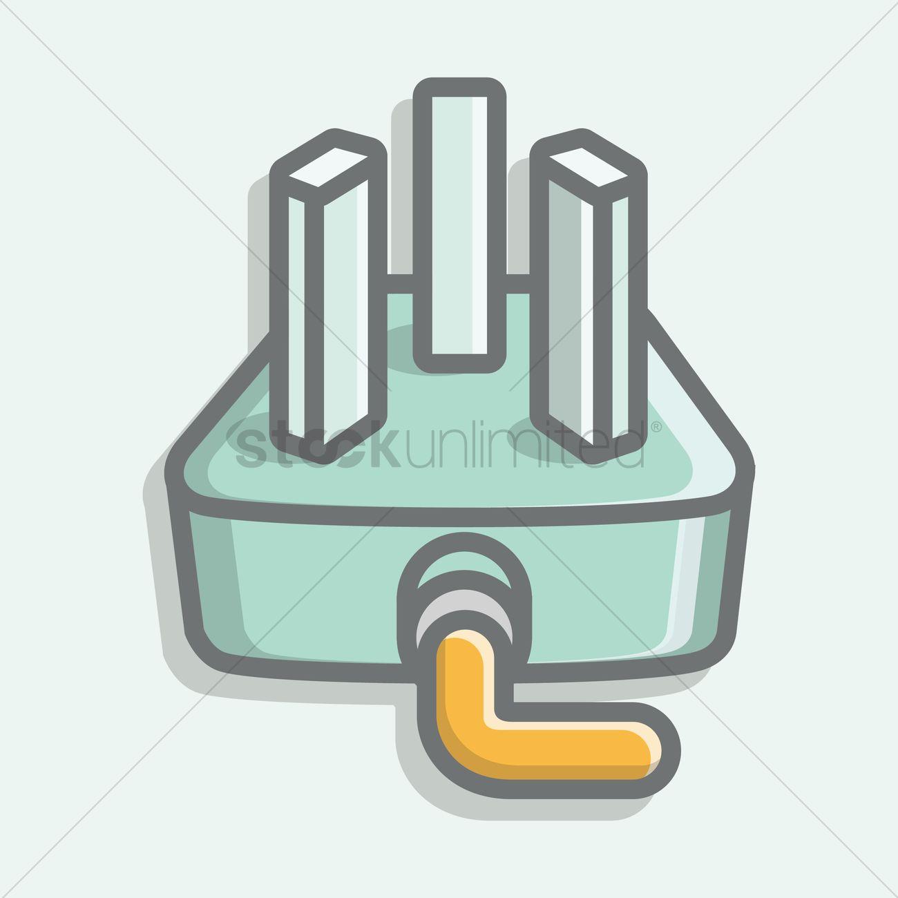 Three pin plug Vector Image - 1397766   StockUnlimited