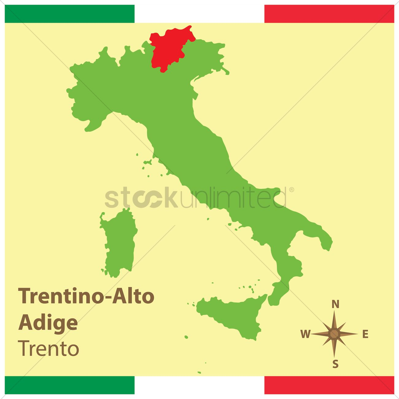Trentinoalto adige on italy map Vector Image 1583938 StockUnlimited
