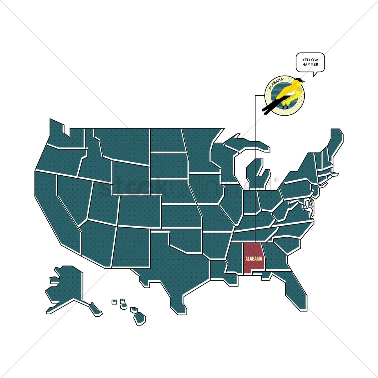 Us Map With Alabama State Bird Vector Image StockUnlimited - Alabama in us map