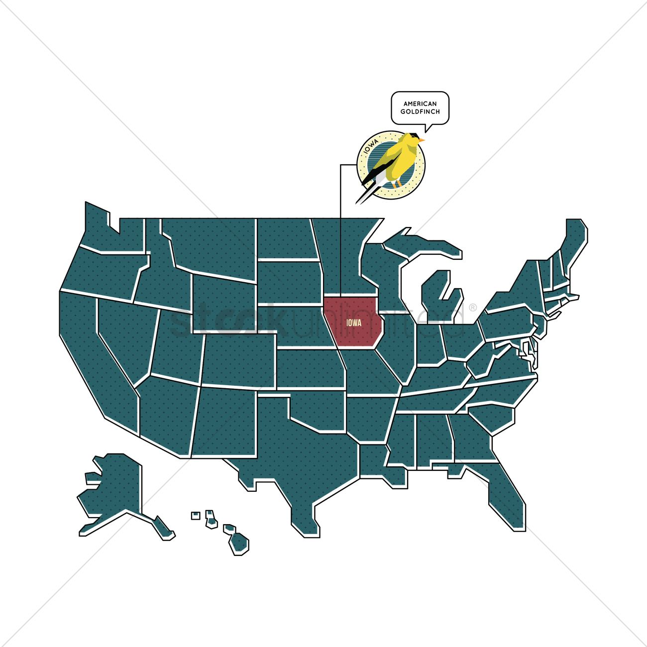 Us Map With Iowa State Bird Vector Image StockUnlimited - Iowa on a us map