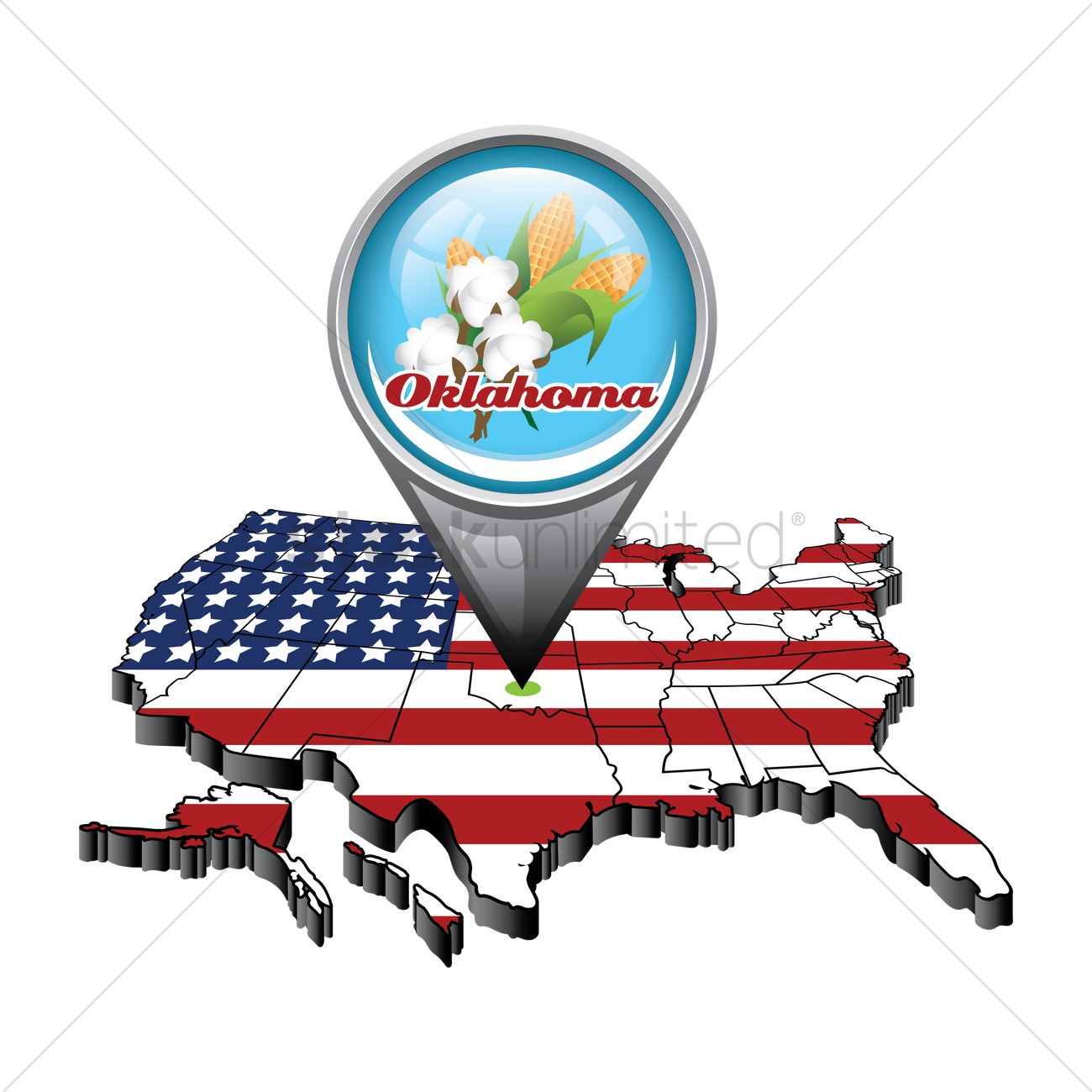 Us map with pin showing oklahoma state Vector Image 1553434