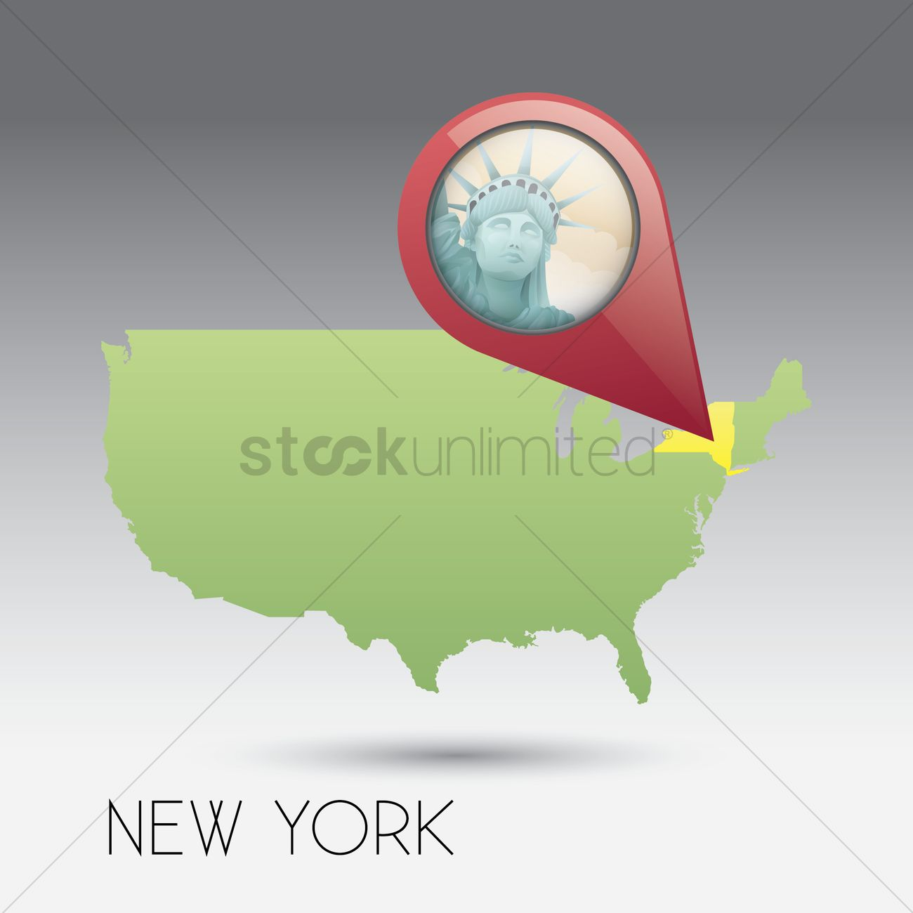 Usa Map With New York State Vector Image StockUnlimited - Usa map new york