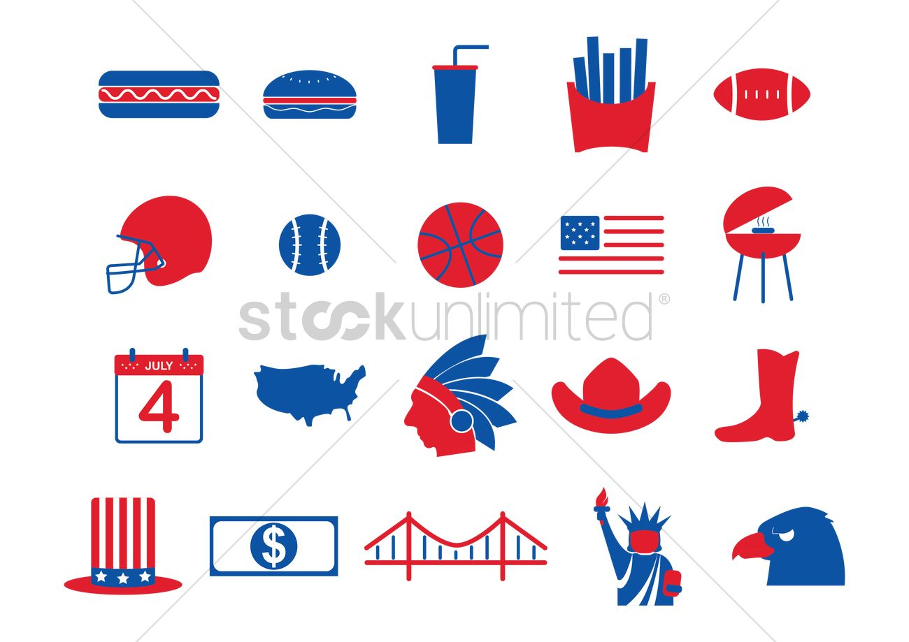 Usa Symbols Collection Vector Image 1492082 Stockunlimited