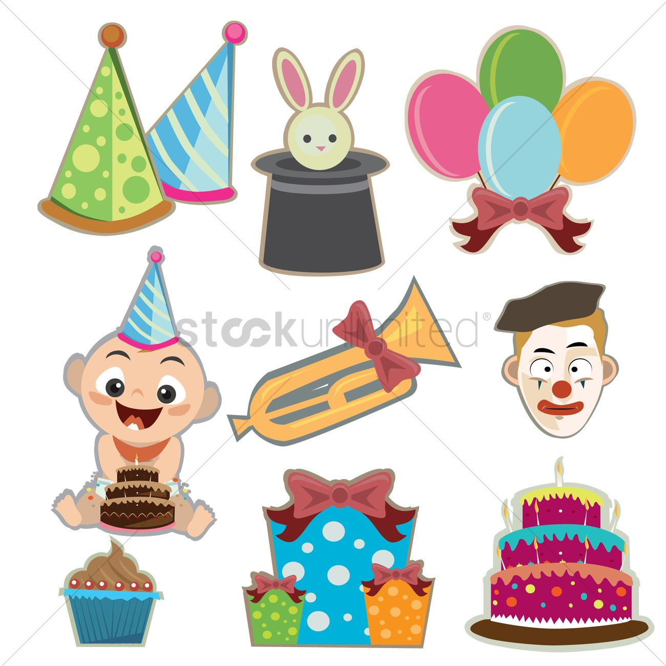 Various Birthday Related Items Vector Image