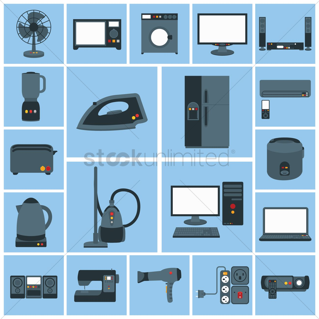 Home Items: Various Home Appliances And Household Items Vector Image