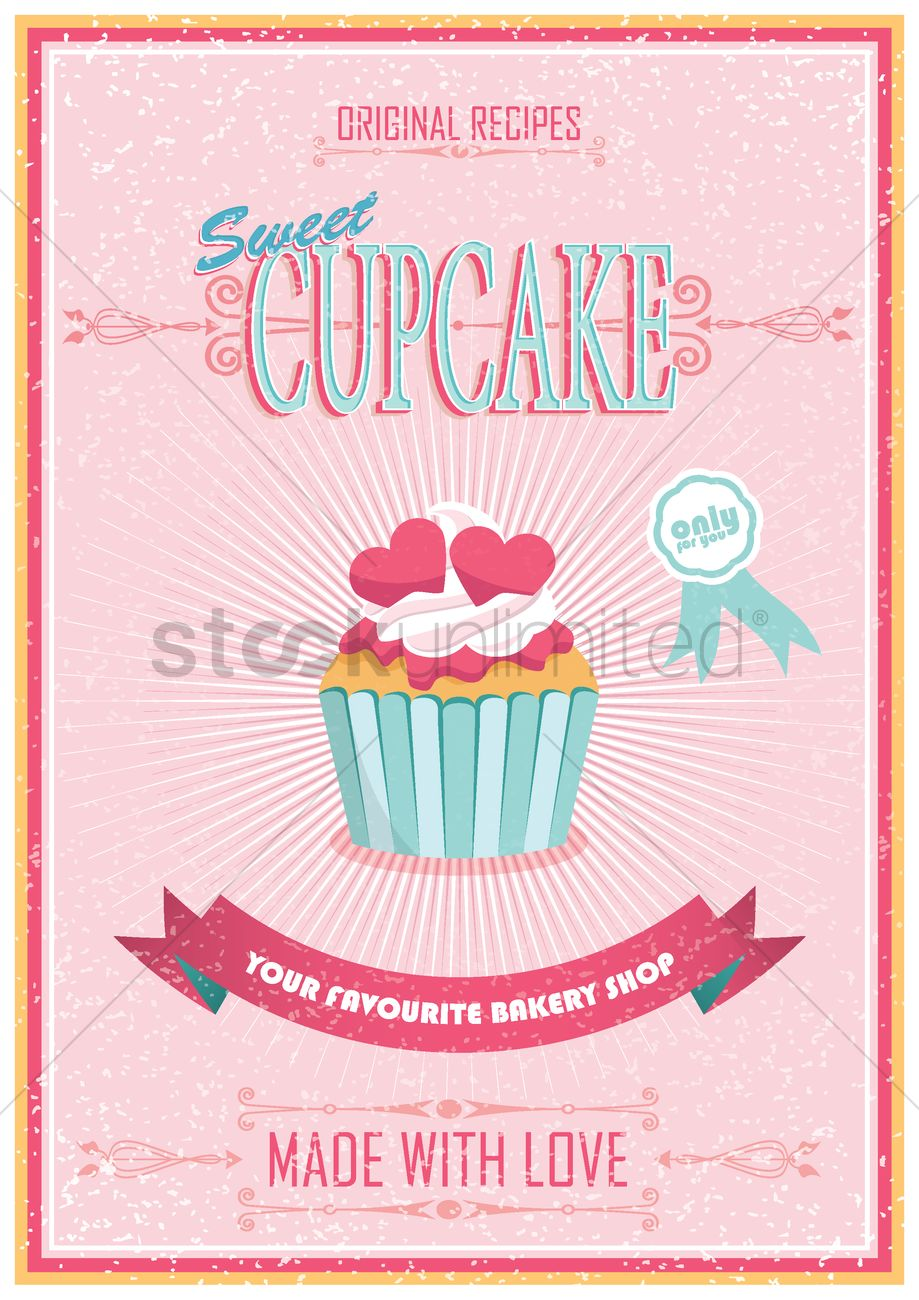 Vintage cupcake poster Vector Image - 1515590   StockUnlimited