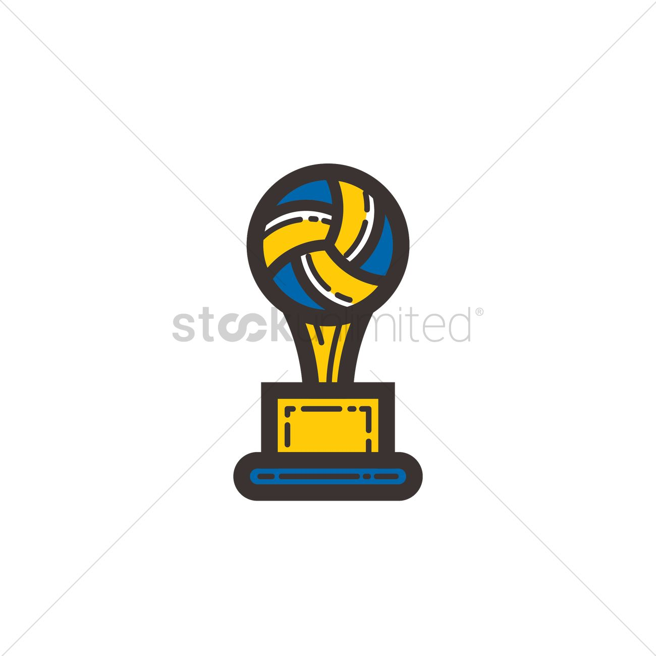 Volleyball Trophy Vector Graphic