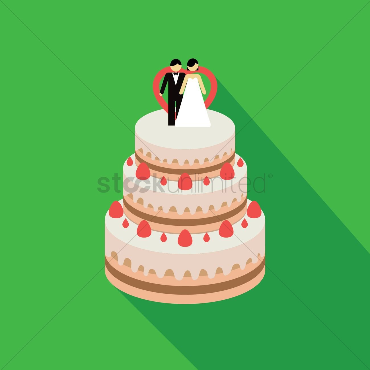 Wedding Cake With Couple Decoration Vector Image 1328578 Stockunlimited