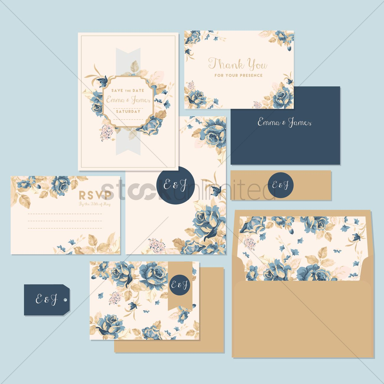 Wedding invitation and thank you card Vector Image - 1531590 ...