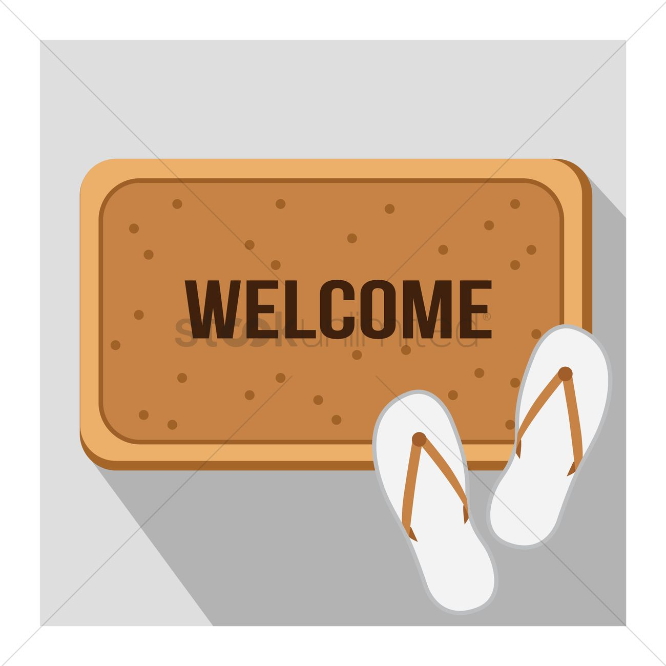 Free Welcome Mat With Slippers Vector Graphic