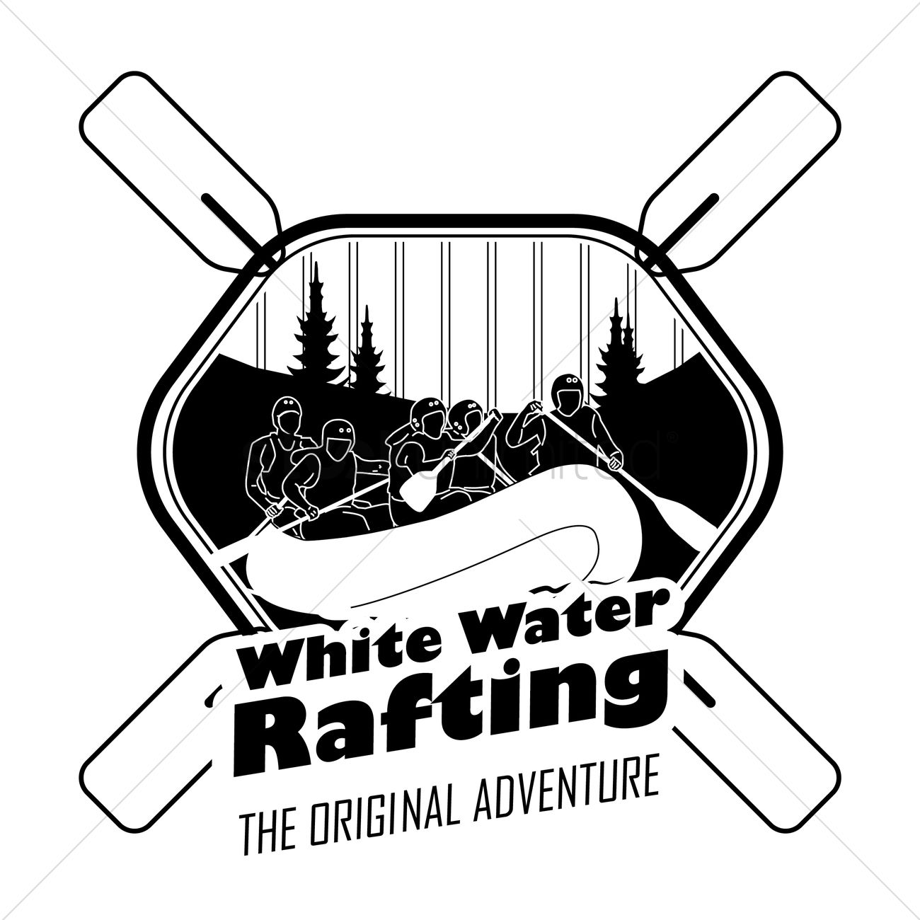 White Water Rafting Label Vector Image