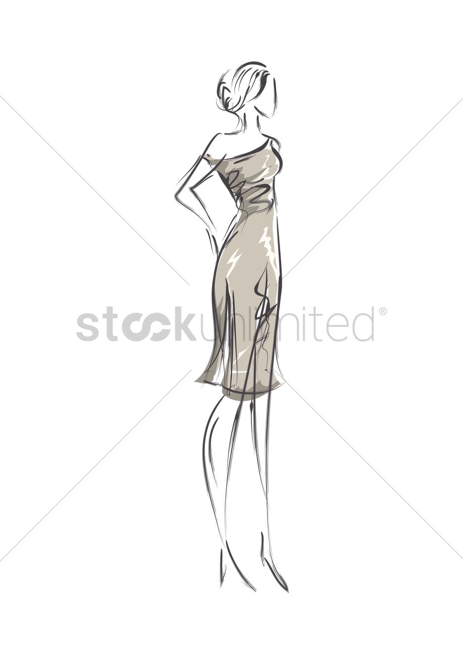 Woman Fashion Design Sketch Vector Image 1959806 Stockunlimited
