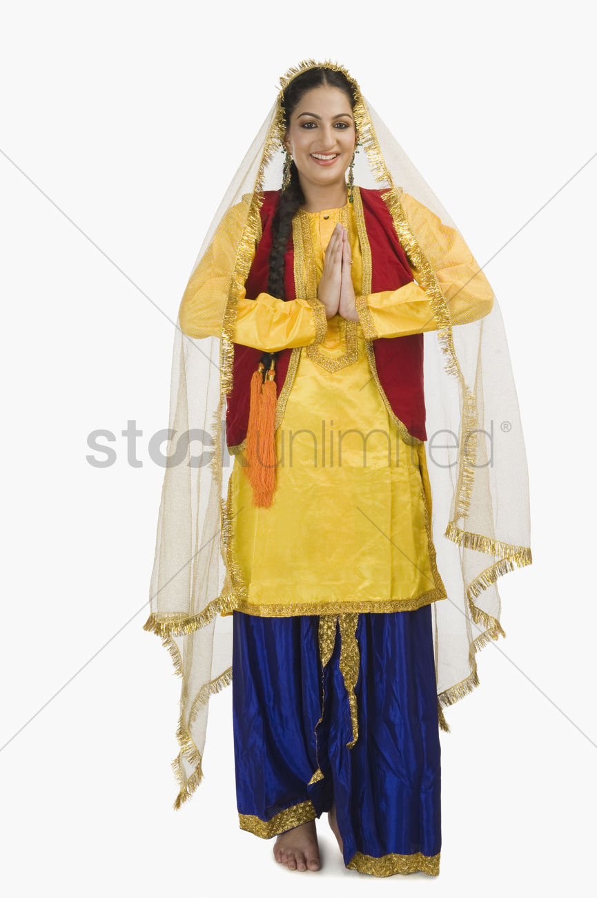 Woman In Traditional Punjabi Dress Greeting Stock Photo 2077694