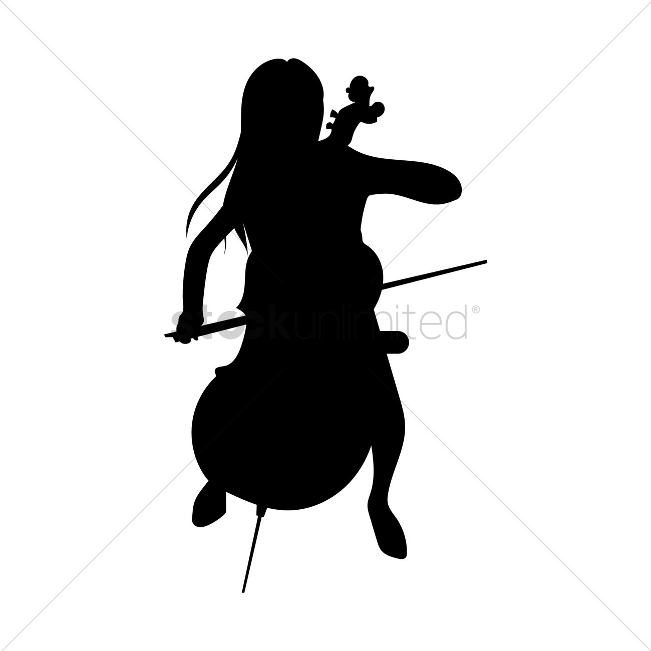 Woman Playing Cello Vector Graphic