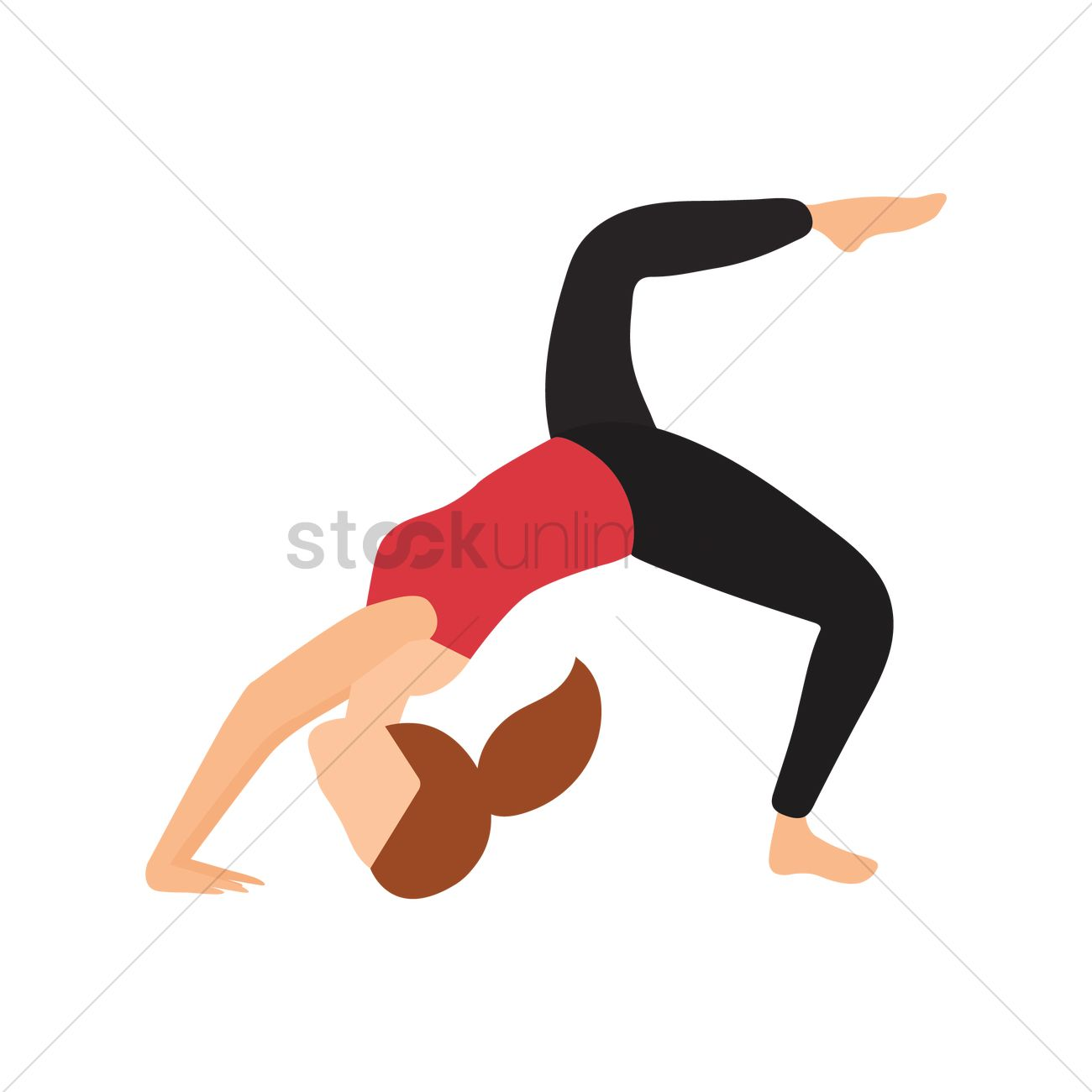 41dc7b702a2eb Woman practicing yoga in one legged wheel pose Vector Image ...