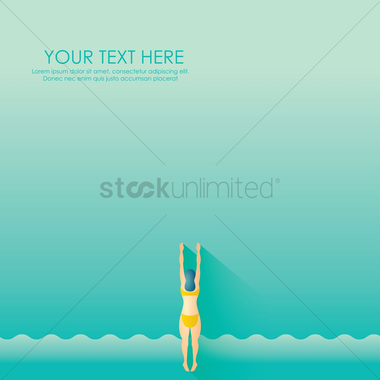 Woman Swimming Wallpaper Vector Graphic