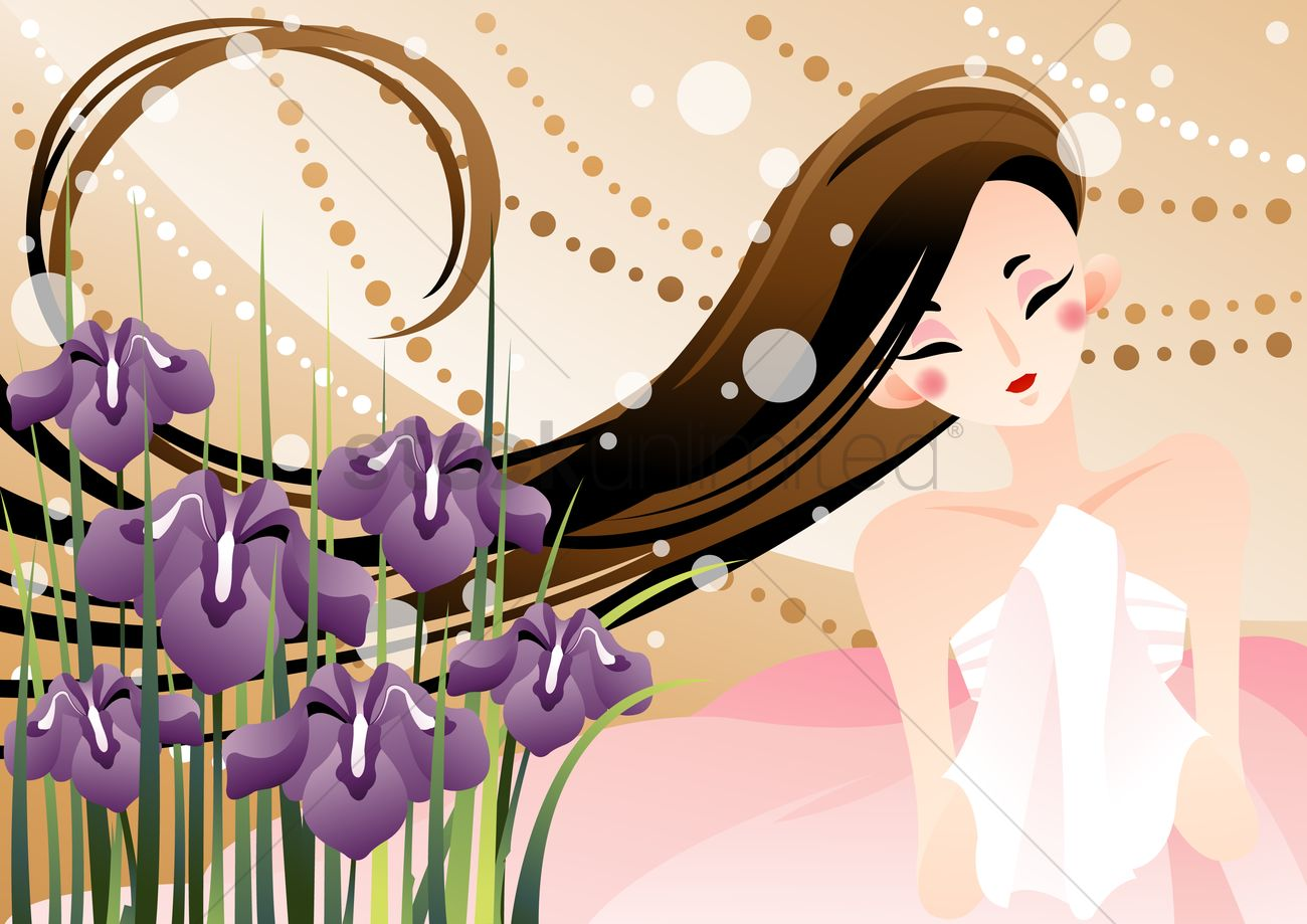 Woman with long hair and iris flowers vector image 1496258 woman with long hair and iris flowers vector graphic izmirmasajfo