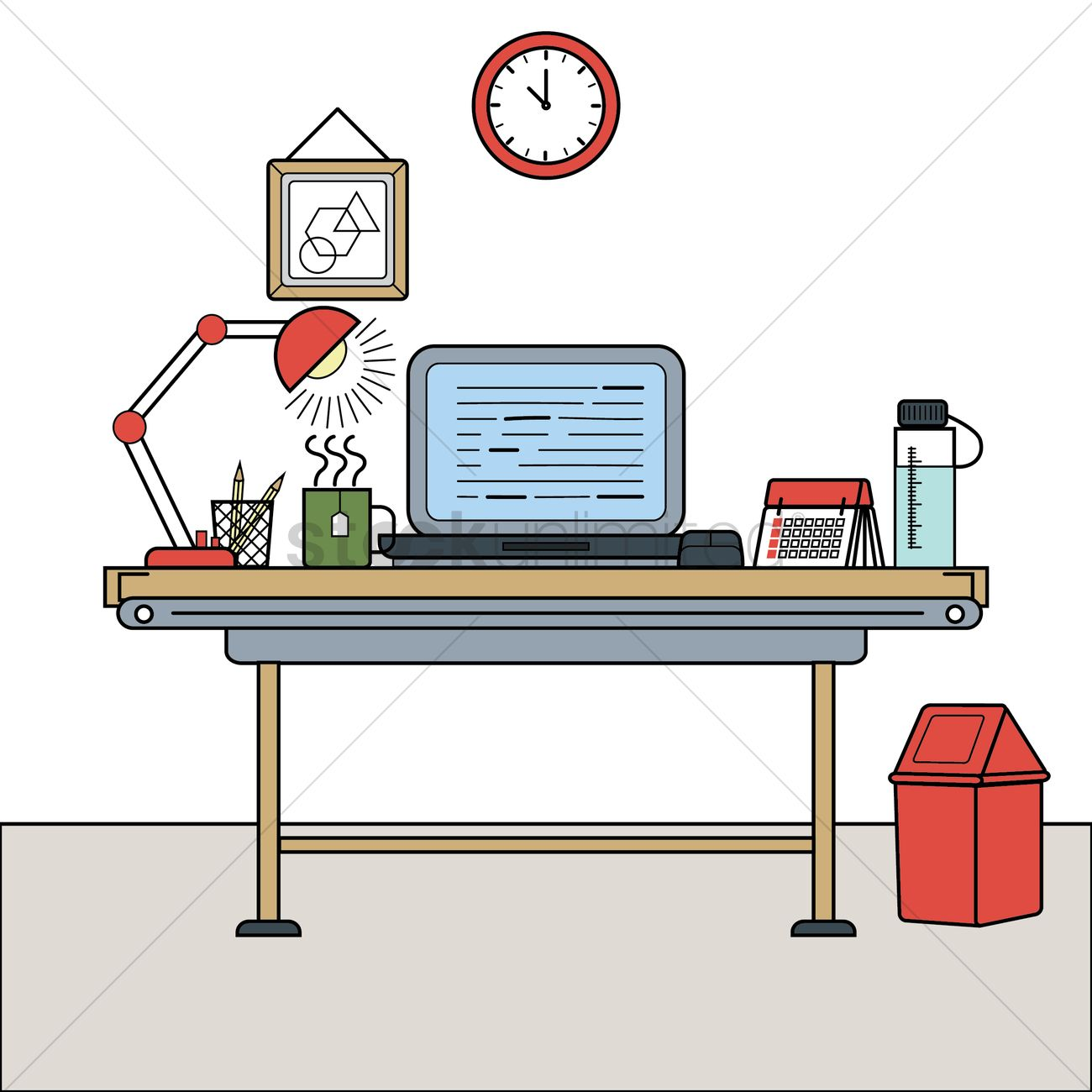 Work Desk At Home Vector Image 2030138 Stockunlimited