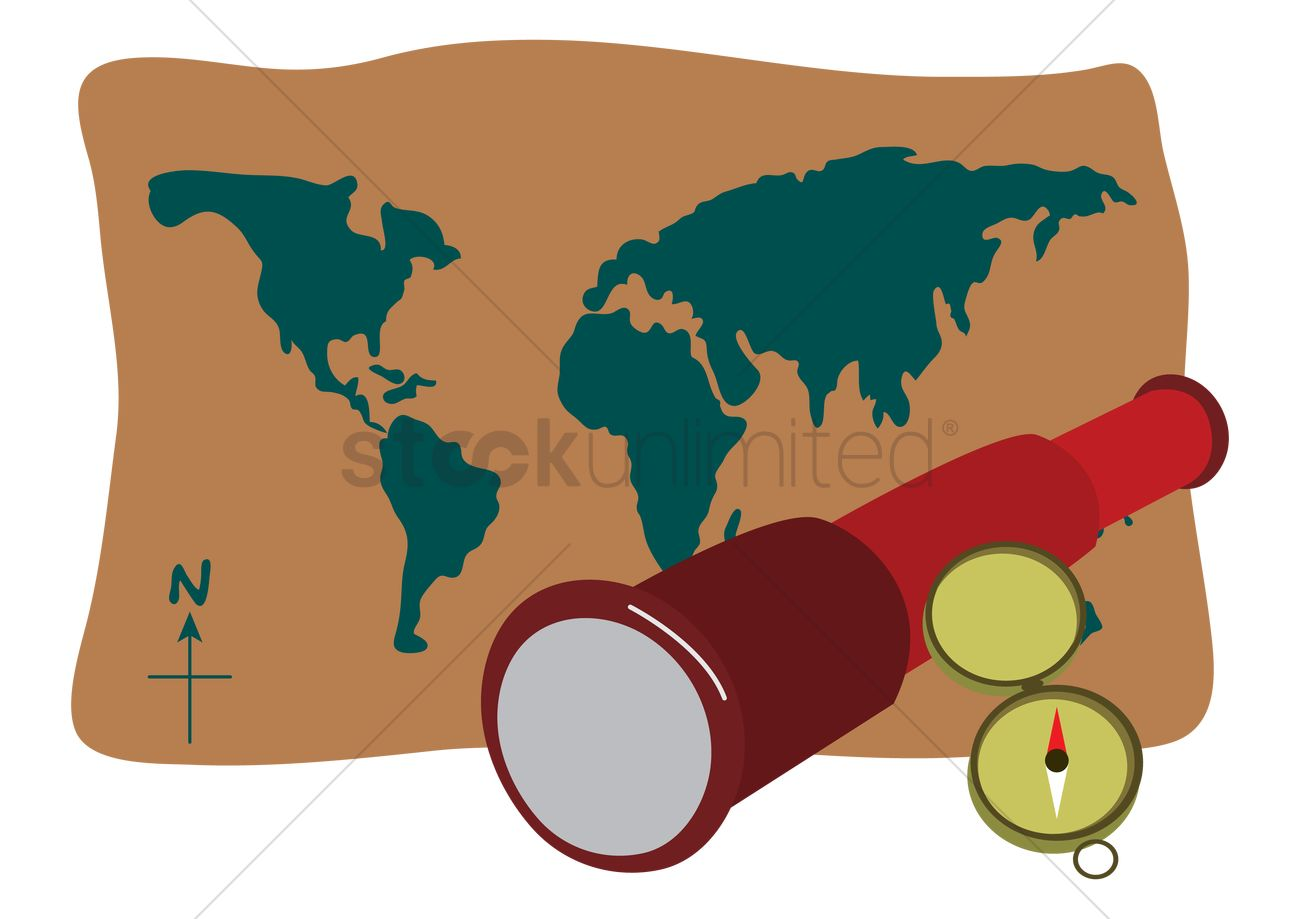 World map compass and a telescope vector image 1262910 world map compass and a telescope vector graphic gumiabroncs Gallery