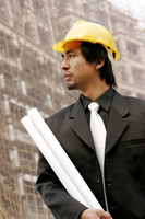 An architect standing at the construction site